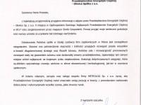 List gratulacyjny od firmy Metrolog Sp. z o.o.